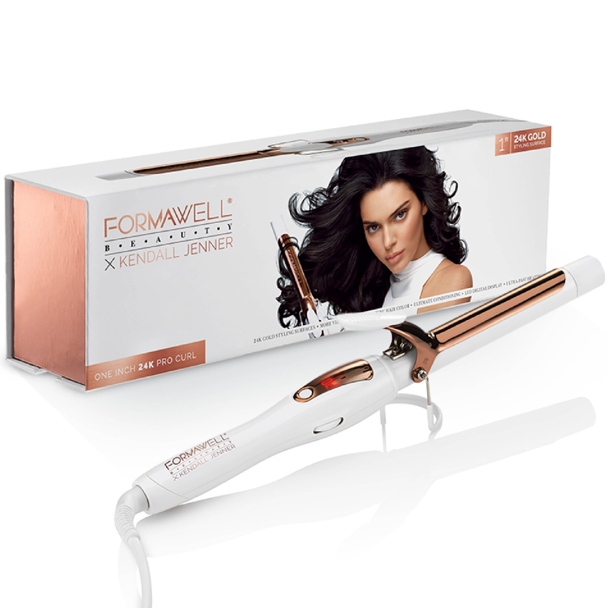 An image of Formawell Beauty X Kendall Jenner Gold Pro Curling Tong