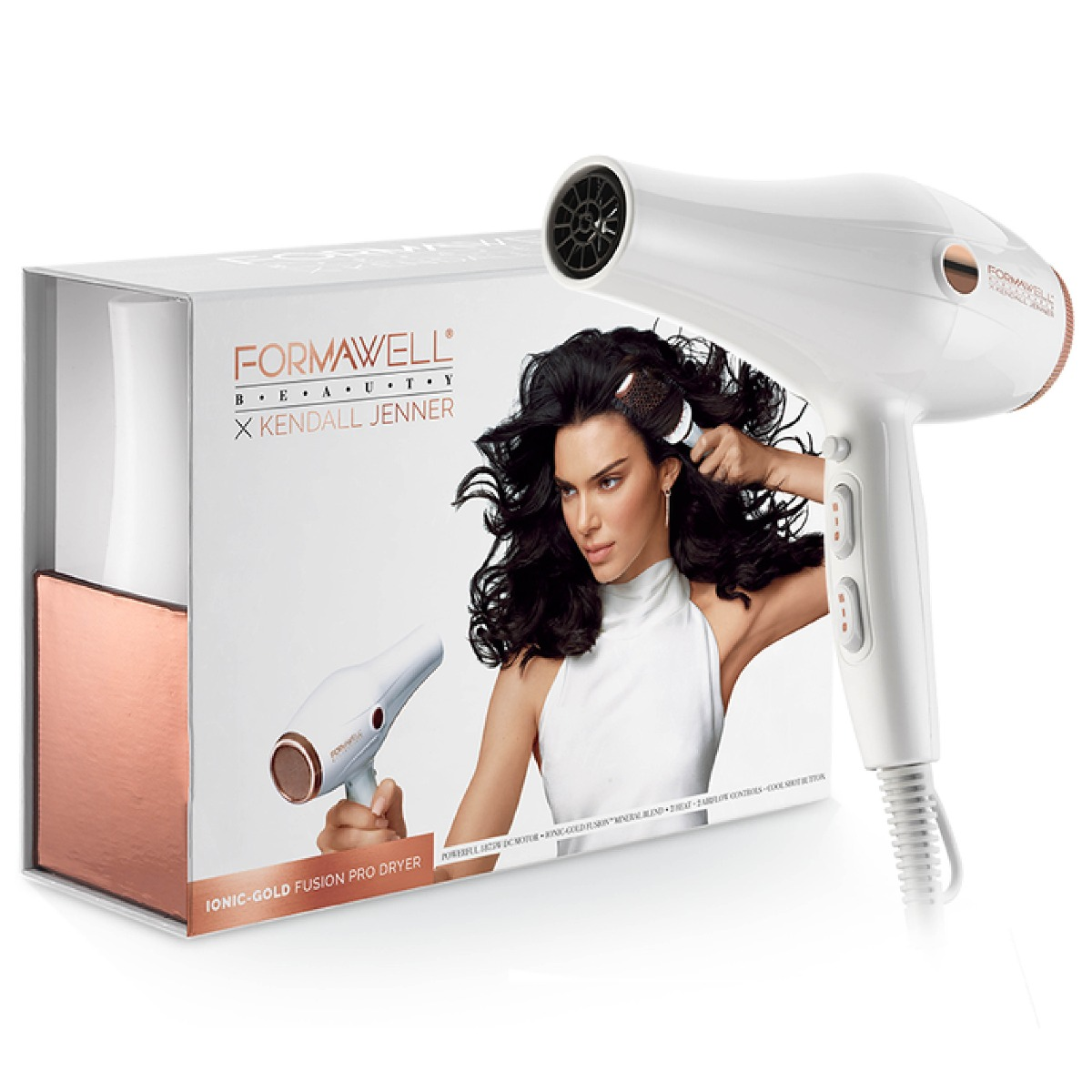 An image of Formawell Beauty X Kendall Jenner Ionic-Gold Fusion Pro Hair Dryer
