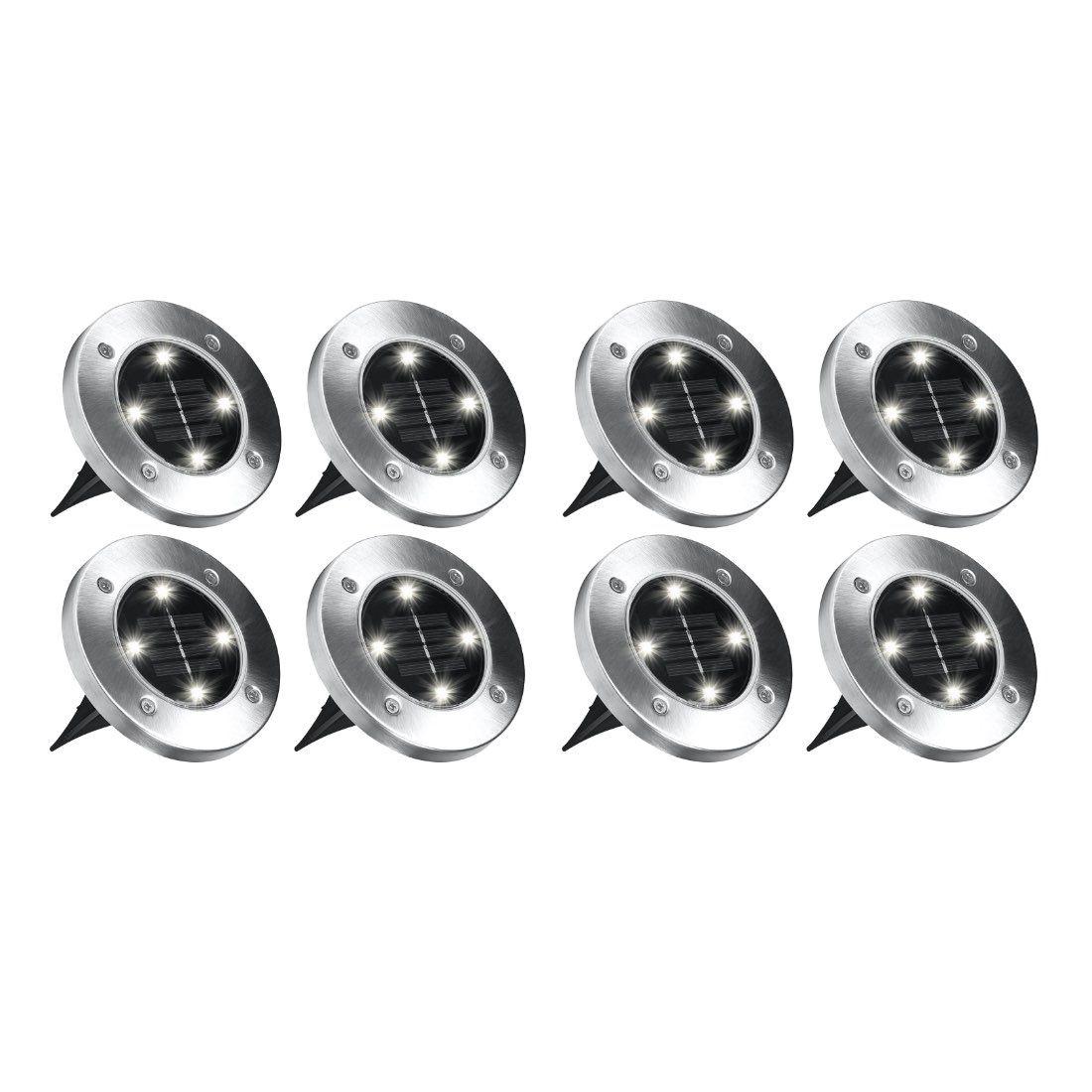 Disk Lights – 8x Solar-Powered Outdoor Lights