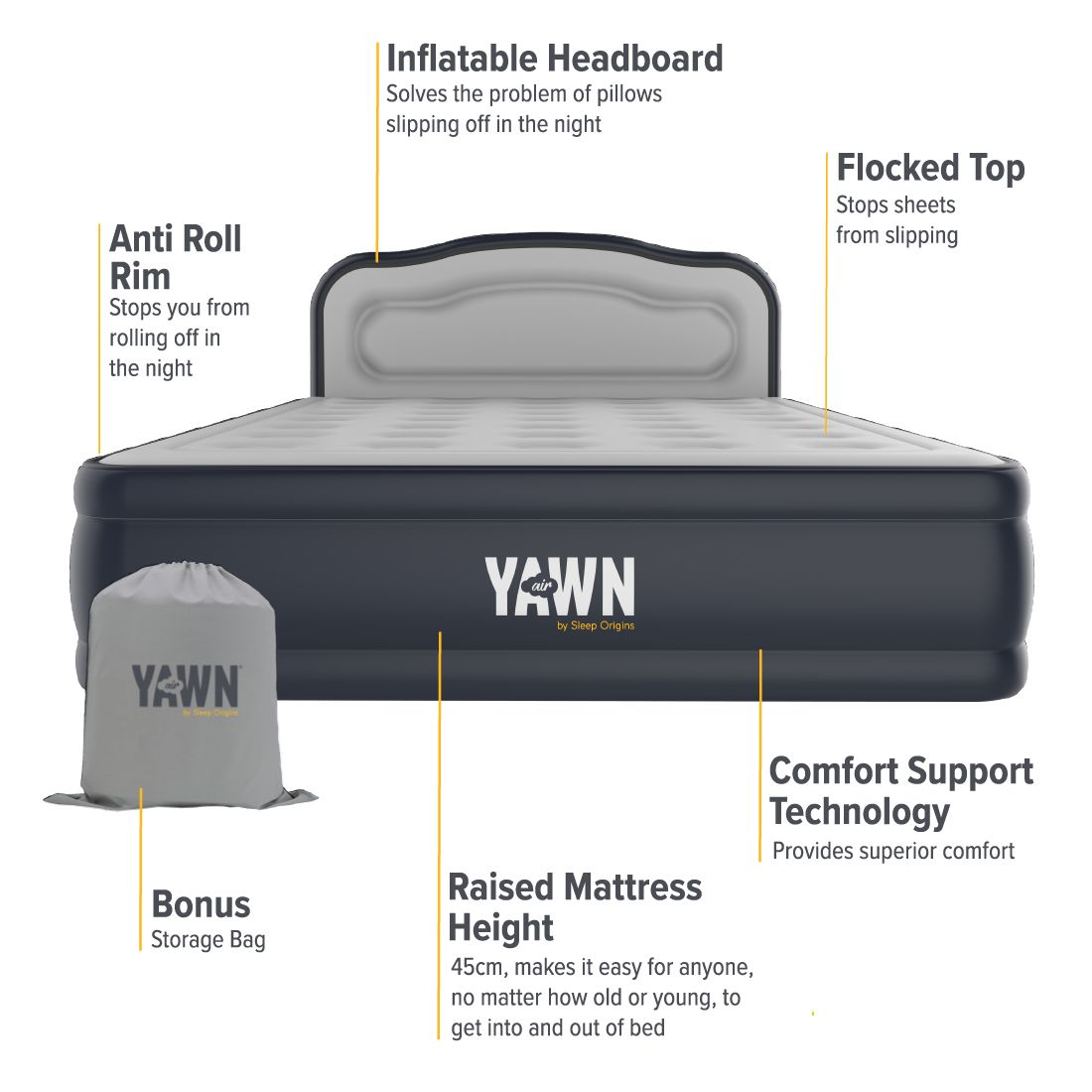 Yawn Air Bed Self Inflating Airbed With Built In Pump And